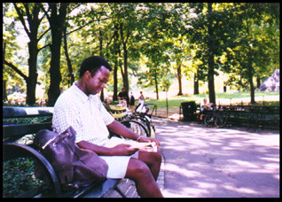 Author in central park
